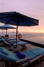 Resort, sea, palm trees, pool, lounge chair, sunset
