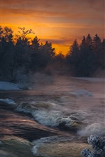 River, trees, snow, sunset, winter