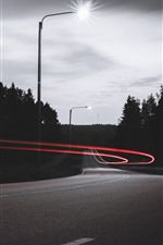 Preview iPhone wallpaper Road, light lines, lamp