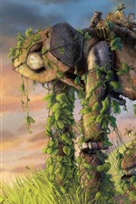 Preview iPhone wallpaper Robot, plants, windmill, art painting