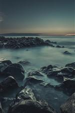 Rochas, névoa, mar, Crepúsculo