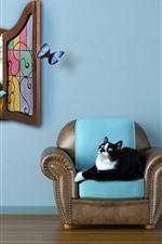 Quarto, gato, cadeira, janela, borboleta, imagem criativa