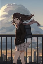Preview iPhone wallpaper Schoolgirl, wind, fence, anime