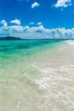 Sea, beach, sands, water, blue sky, clouds
