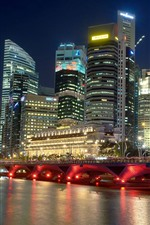 Singapore, city at night, river, skyscrapers, bridge, lights