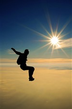 Skydiving, person, sunrays, sky, clouds