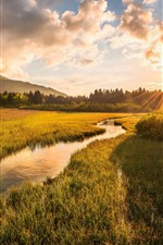 Preview iPhone wallpaper Slovenia, Julian Alps, river, grass, trees, clouds, sunset