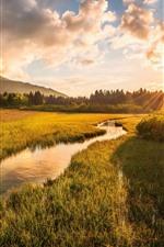 Slovenia, Julian Alps, river, grass, trees, clouds, sunset
