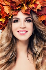 Smile girl, maple leaves, head decoration