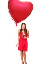 Preview iPhone wallpaper Smile girl, red skirt, gift, love heart balloon, white background