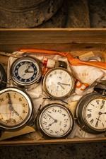 Some clocks, box