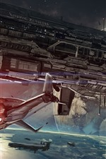 Spaceship, space, planet, sci-fi art picture