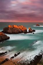 iPhone壁紙のプレビュー スペイン、海岸、海、岩、日没