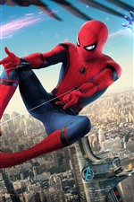 Preview iPhone wallpaper Spider-Man: Homecoming, Iron Man, Marvel superheroes