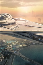 Preview iPhone wallpaper Star Citizen, future city, spaceship