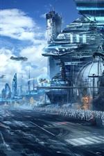 Star Wars, imagem de arte, arranha-céus, soldados