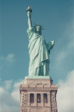 Preview iPhone wallpaper Statue of Liberty, blue sky, clouds, USA