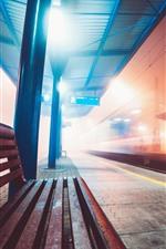 Subway station, lights, bench