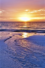 Sunset, beach, water, sky, sea