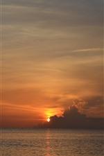 Preview iPhone wallpaper Sunset, clouds, sky, sea, dusk, nature landscape
