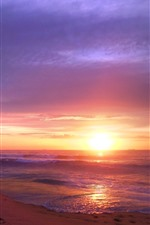 Preview iPhone wallpaper Sunset, sea, waves, beach, nature landscape