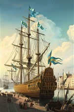 Preview iPhone wallpaper Sweden, Stockholm, ship, city, river, art painting