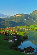 Switzerland, montanhas, lago, vila