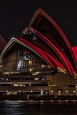Preview iPhone wallpaper Sydney Opera House, Australia, night, lights, sea