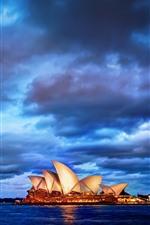 미리보기 iPhone 배경 화면 시드니, 도시, 밤, 구름, 호주