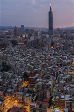 Taiwan, city, skyscrapers, dusk, lights, Taipei 101