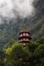 Preview iPhone wallpaper Taroko Gorge, Taiwan, tower, trees, fog