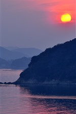 Preview iPhone wallpaper Tatsuno, Japan, river, mountains, sunset