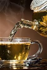 Chá, copo de vidro, chaleira, vapor