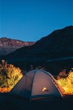 Tent, lights, mountains
