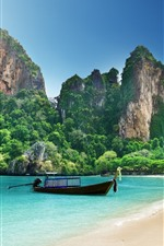 Preview iPhone wallpaper Thailand, beach, boat, sea, mountains, tropical