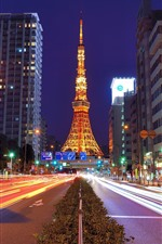 Preview iPhone wallpaper Tokyo Tower, Japan, night, road, illumination