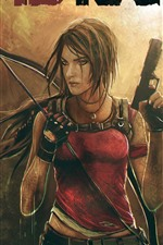 Preview iPhone wallpaper Tomb Raider, Lara, gun, skull
