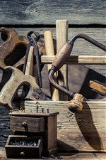 Toolbox, tools, wood board