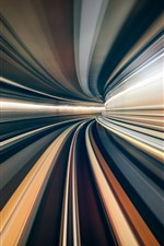 Preview iPhone wallpaper Tunnel, light lines, speed