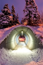 Preview iPhone wallpaper Tunnel, snow, winter, night
