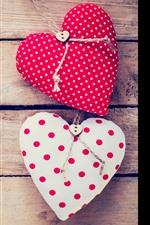 Two love hearts, wood board, romantic