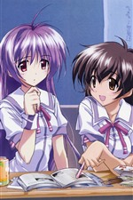 Two schoolgirls, classroom, anime