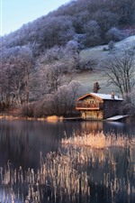 Preview iPhone wallpaper UK, England, lake, trees, hut, slope