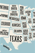 Preview iPhone wallpaper USA map, state name, creative picture