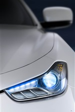 White Maserati front view, headlight