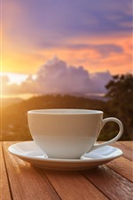 Preview iPhone wallpaper White cup, sunset, glare