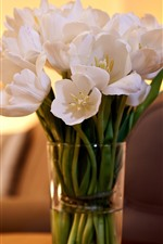 Preview iPhone wallpaper White tulips, vase, candles