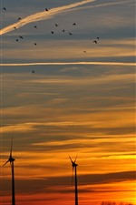 Preview iPhone wallpaper Windmill, sunset, sky, clouds