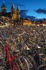 Amsterdam, Netherlands, many bikes, city, night