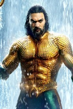 Preview iPhone wallpaper Aquaman, Arthur, golden scales, waterfall